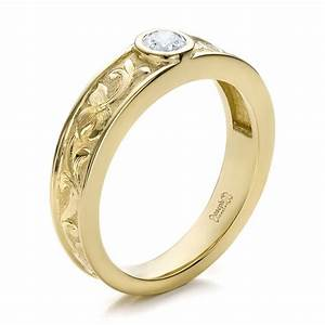 custom hand engraved diamond solitaire wedding ring 100288 With engraved wedding rings