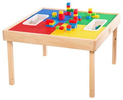 reversable lego and duplo wood play table with 2 storage