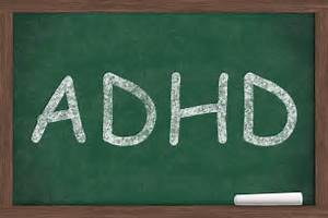 ADHD written on a chalkboard, Learning and having ADHD ADHD