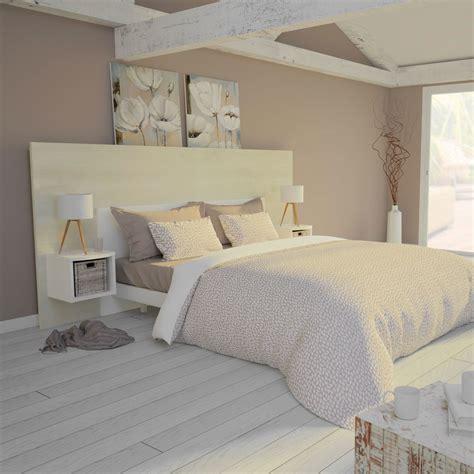 Votre tête de lit au meilleur rapport qualité/prix c'est ici ! Ensemble Tête de lit 160 cm + 2 chevets Bois Flotté Crème et Blanc Mat | Kazed