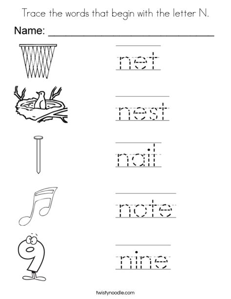 words that begin with the letter i trace the words that begin with the letter n coloring page 855   trace the words that begin with the letter n coloring page
