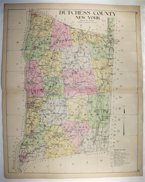 large map dutchess county ny vintage map  york