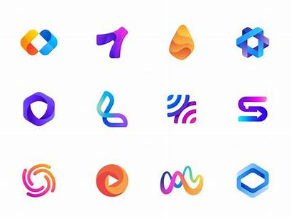 Gradient Dribbble Trends Colorful Mark Logos Icon