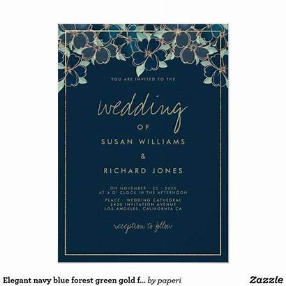 Forest Navy Invitation Invitations Floral Zazzle Elegant