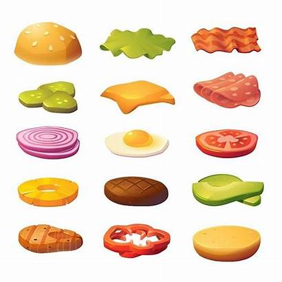 Burger Ingredients Vector Burgers Andrey Cartoon Illustration