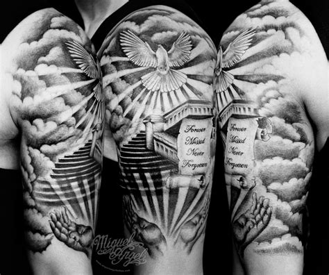Staircase To Heaven Tattoo by Stairs To Heaven Scroll Hands And Dove Custom Tattoo Flickr