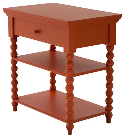 Spindle Nightstand by Alex Spindle Nightstand Orange Contemporary