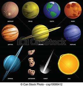 Vector Clip Art of Planets isolated on black (not to scale ...