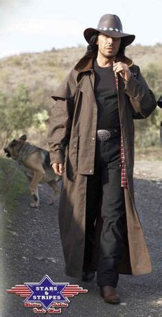 mens western  west cowboy scully long duster coat