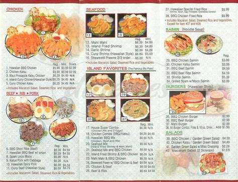 aloha kitchen menu hawaiian b b q kitchen menu south pasadena dineries