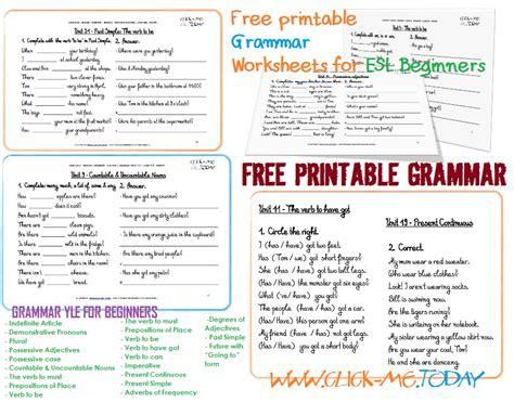 printable esl grammar worksheets  beginners