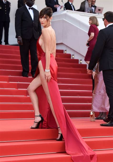 bella hadid stole  show   red dress