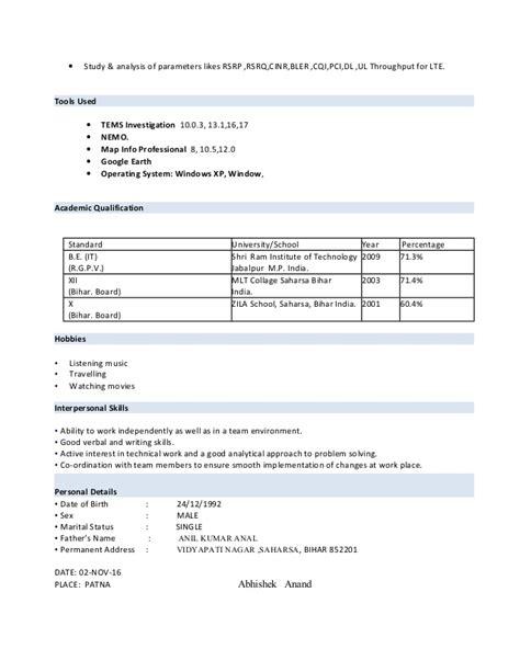 Lte Optimization Resume by Abhishek Anand Resume 02 Nov 16