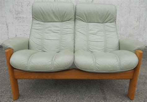 Reclining Settees by Sold Stressless Two Seater High Back Loveseat Leather