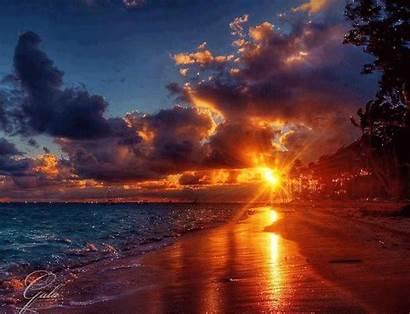 Sunset Beach Animated Sun Gifs Rising Sunrise