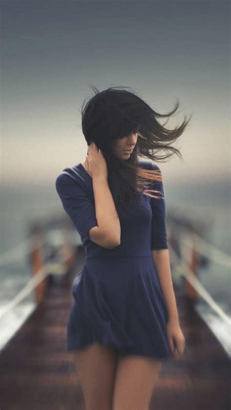 Lovely Girl Sea Wind Photo