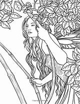 Coloring Pages Fairy Adult Adults Fantasy Printable Colouring Selina Magical Enchanted Leaves Mystical Sheets Mermaid Books Dark Detailed Angels Forests sketch template