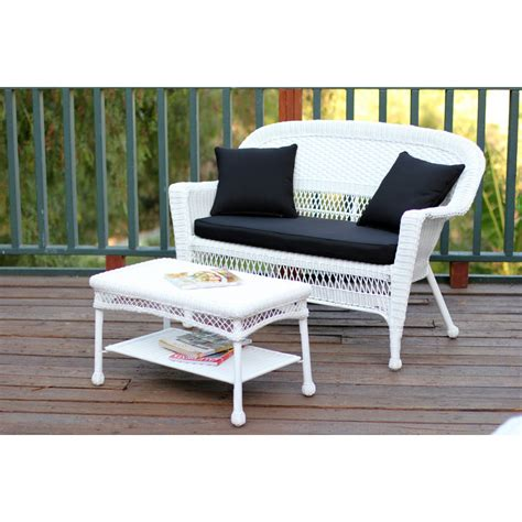 honey wicker patio seat and coffee table set with