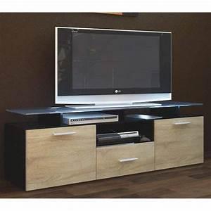 Meuble Bois Brut : meuble tv noir et bois brut 146 cm achat vente meuble tv meuble tv noir et bois brut cdiscount ~ Teatrodelosmanantiales.com Idées de Décoration