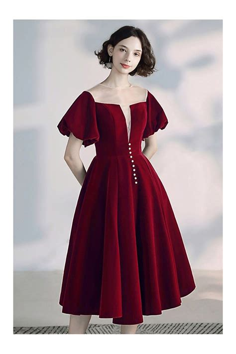 Vintage French Bubble Sleeve Party Dress Tea Length With