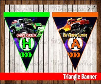 Banner Triangle Monster Jam Printable Instant Printables