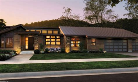 contemporary prairie style house plans small one front rendering rambler would to add a finished