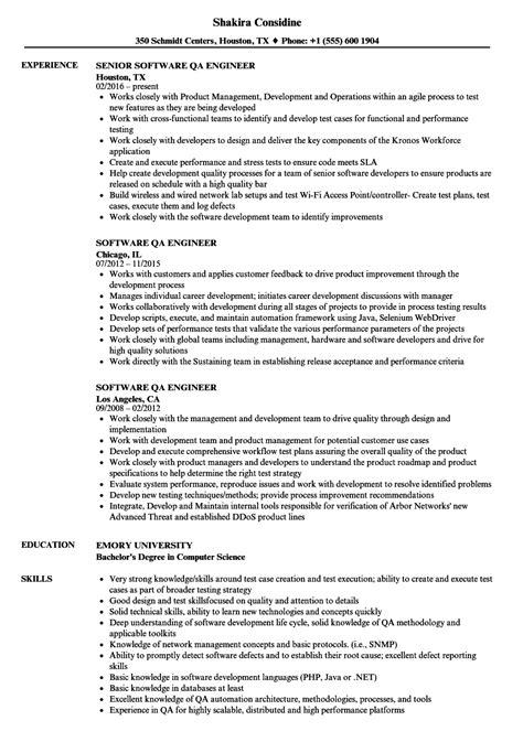 software qa engineer resume samples velvet jobs