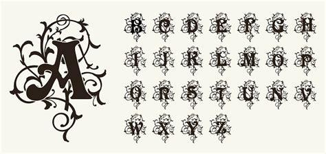 vintage set capital letters floral monograms  beautiful filigree font art deco nouveau modern