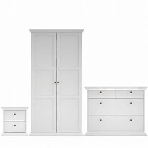 Isabella white matt 3 piece bedroom furniture set for Bedroom furniture sets b q