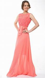 bridesmaid dress lace chiffon long dress wedding coral With coral dress for wedding