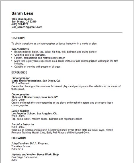 instructor resume exle free templates collection