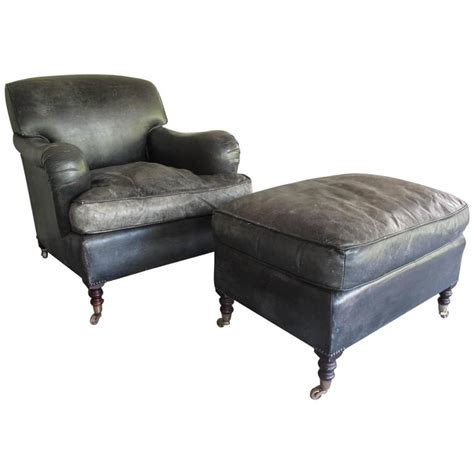 George Smith Armchair by George Smith Charcoal Leather Armchair And Ottoman At 1stdibs