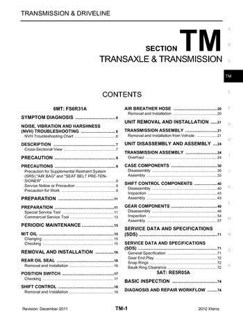 2012 Nissan Xterra - Transaxle & Transmission (Section TM