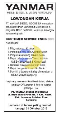 karir kerja  lampung pt yanmar diesel indonesia