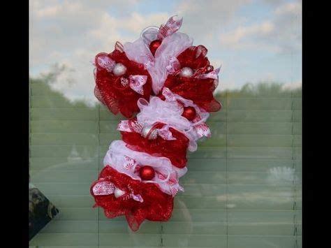 dollar tree deco mesh candy cane wreath tutorial youtube