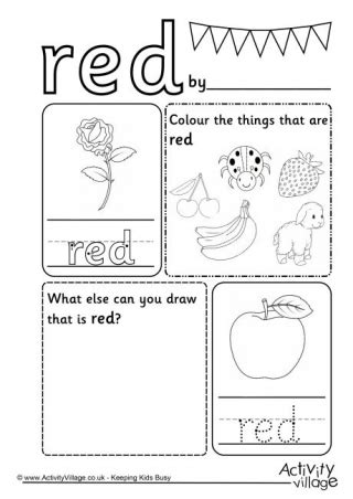 colour worksheets 639 | red colour worksheet 460