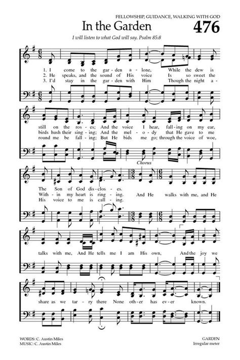in the garden hymn baptist hymnal 2008 476 i come to the garden alone