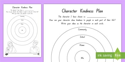 Character Kindness Plan Activity To Support Teaching On Wonder