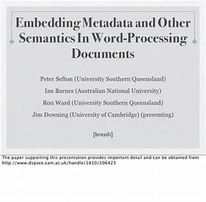 embedding metadata in word processing documents With documents of word processing