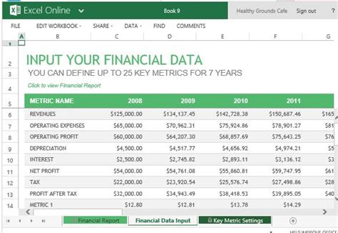 annual financial report template  excel