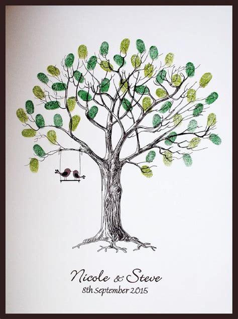 personalised wedding fingerprint tree  love birds