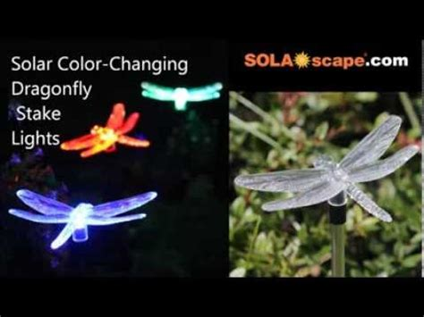 solar color changing dragonfly garden stake light by