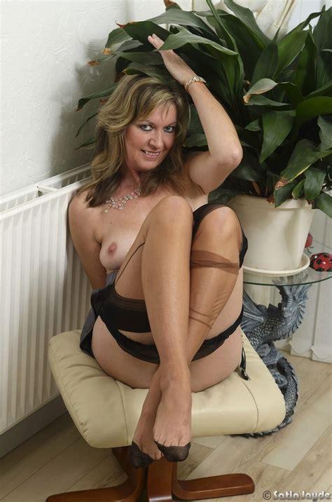 Sexy milf satin blouse & nylons | Stockings Diary