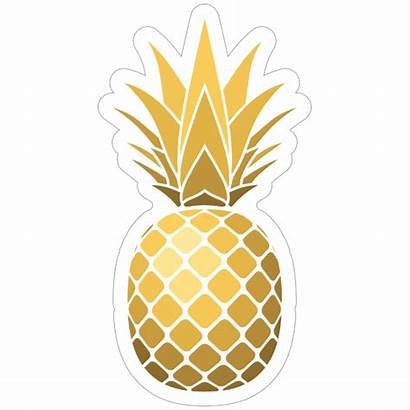 Pineapple Sticker Golden Shiny Stickers Clipart Decals