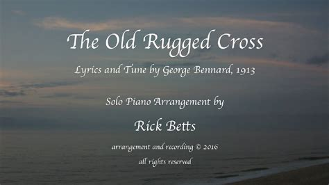 To The Rugged Cross Lyrics by The Rugged Cross Lyrics With Piano