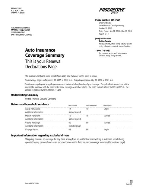 You need your declarations page when you're shopping around for coverage. Direct Auto Insurance Declaration Page