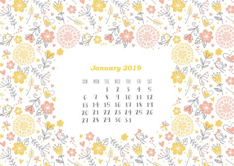 Calendrier Janvier 2019