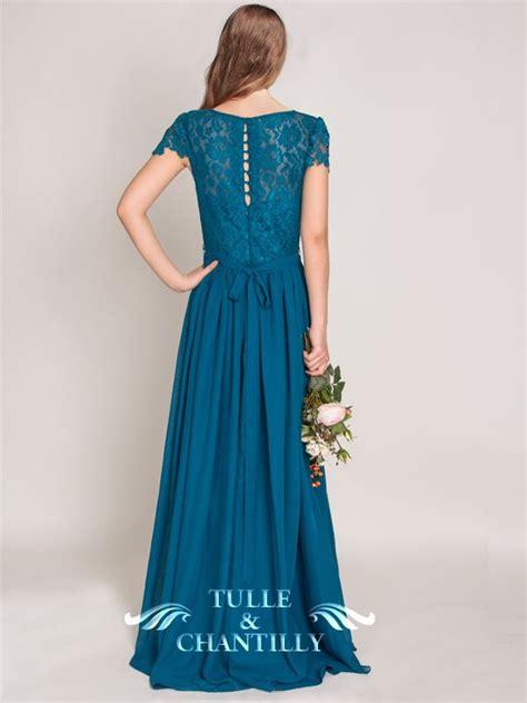 Elegant Teal Lace Bridesmaid Dress with Long Chiffon Skirt ...