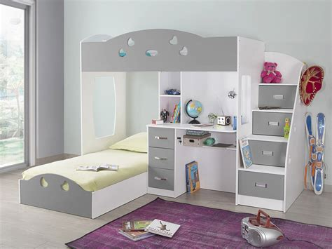 lit superpose avec bureau lit superpos 233 avec rangements et bureau 90x190cm combal gris blanc