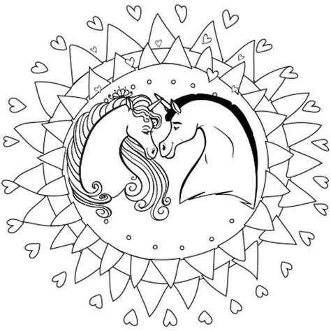 mandala licorne avec images coloriage licorne
